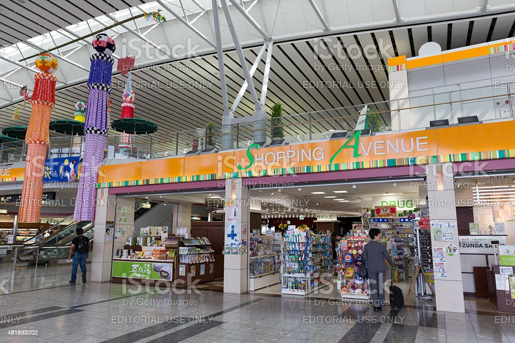 Shopping Avenue in Sendai Airport, Japan stock photo