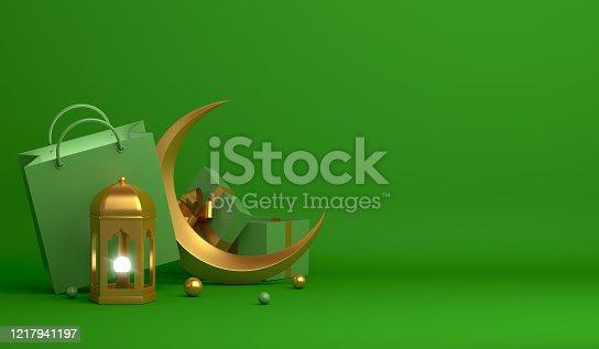 istock Shopping bag, gift box, lantern, gold crescent moon on green background. Design concept of islamic celebration day ramadan kareem or eid al fitr adha, 3D illustration. 1217941197