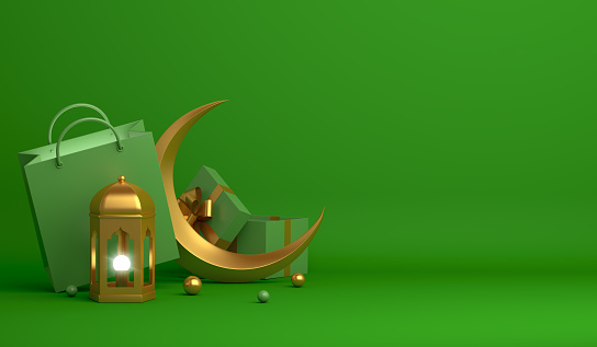 istock Shopping bag, gift box, lantern, gold crescent moon on green background. Design concept of islamic celebration day ramadan kareem or eid al fitr adha, 3D illustration. 1217941197