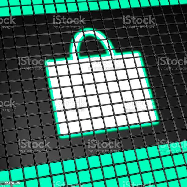 Shopping bag icon on pixel mesh lcd screen