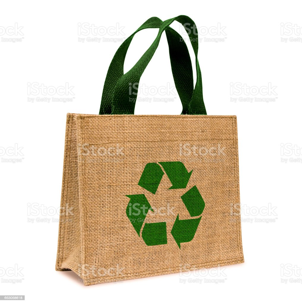Shopping bag made out of sack stock photo