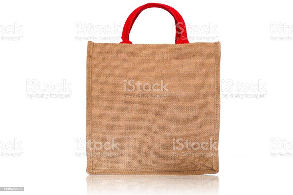 Shopping bag on isolate white background, Sackcloth texture stock photo