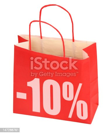 istock shopping bag with -10% sign 147288761