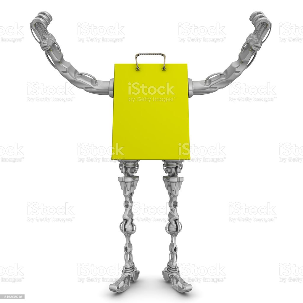 Shopping bag with arms and legs. Hands raised up stock photo