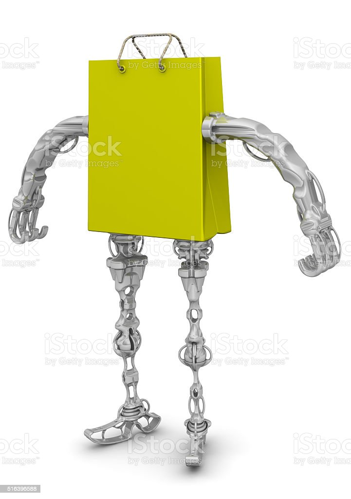 Shopping bag with arms and legs stock photo