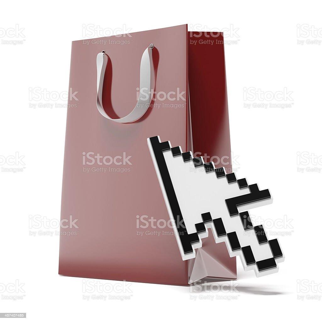 shopping bag with cursor stock photo