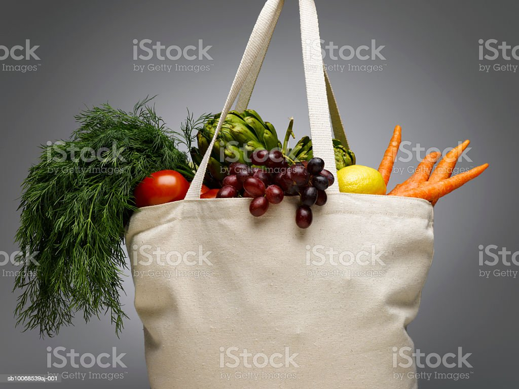 Shopping bag with fresh vegetables, close-up royalty-free stock photo