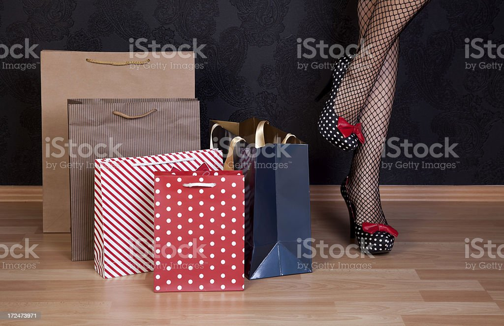 shopping bag with sexy woman royalty-free stock photo