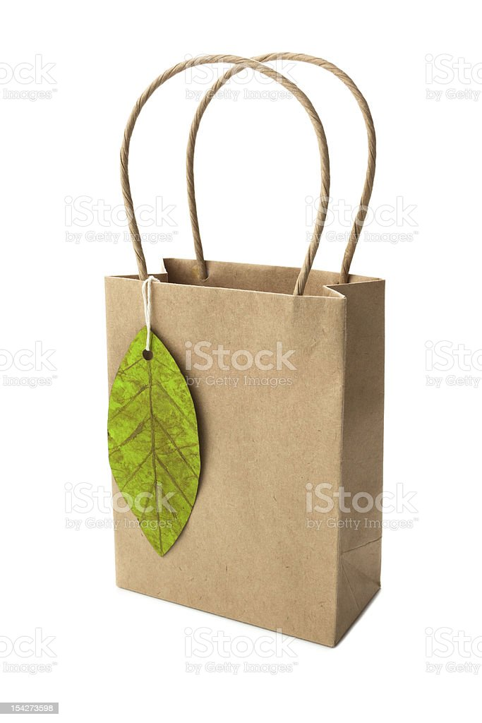 Shopping bag with tag royalty-free stock photo