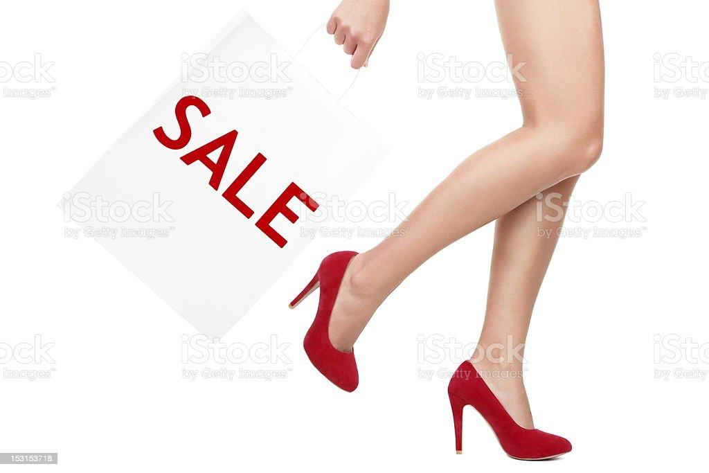 Shopping bag woman - sale royalty-free stock photo