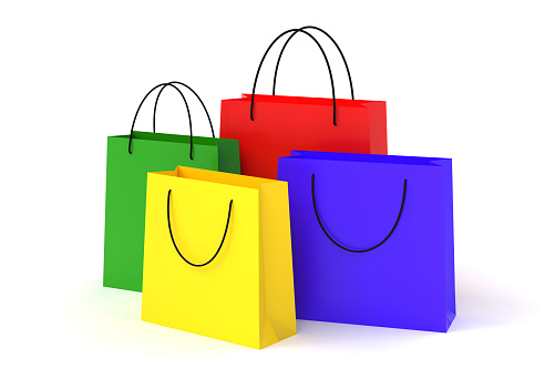 shopping, bags, colored, isolated on white