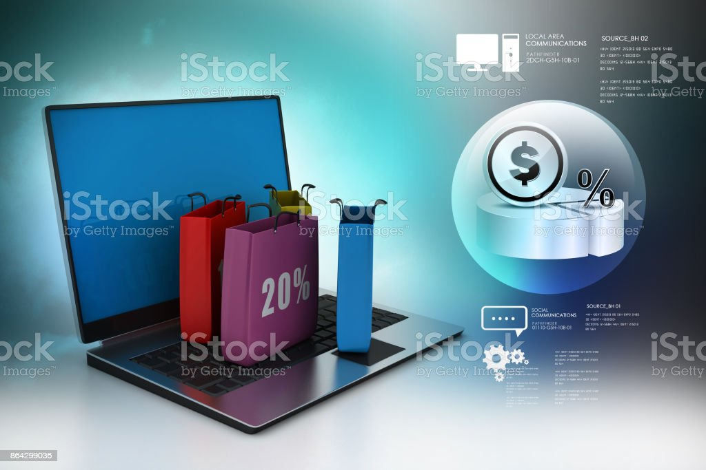 shopping bags and a laptop royalty-free stock photo