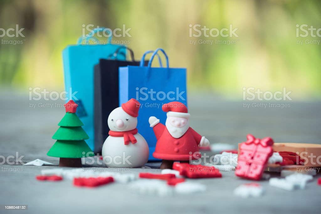 Black Friday Christmas Decorations.Shopping Bags And Christmas Decoration Stuffs Concept Of