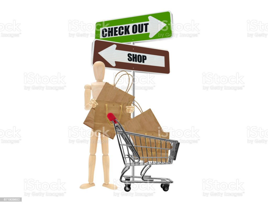 Shopping Bags Cart Directional Arrows Wood Mannequin stock photo