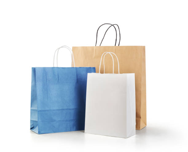 Shopping bags for fashion and clothing  isolated on a white background stock photo