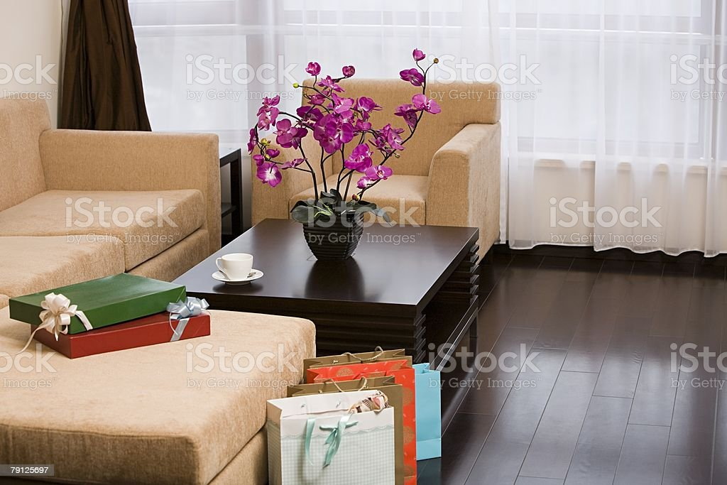 Shopping bags in a living room royalty-free 스톡 사진