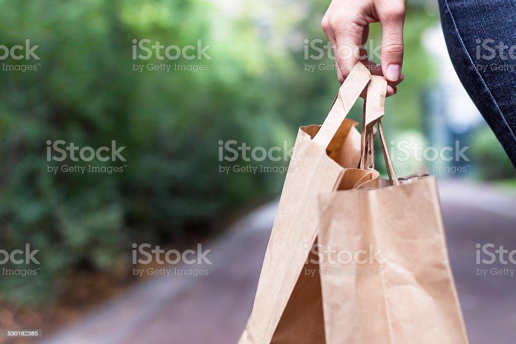 Einkaufstaschen in der hand - Lizenzfrei Papiertüte Stock-Foto