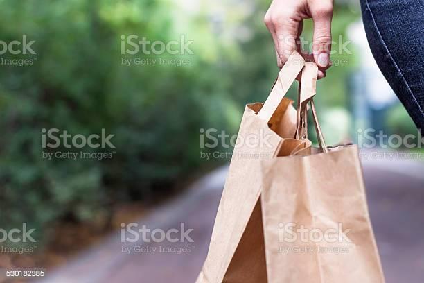 Einkaufstaschen In Der Hand Stockfoto und mehr Bilder von Papiertüte