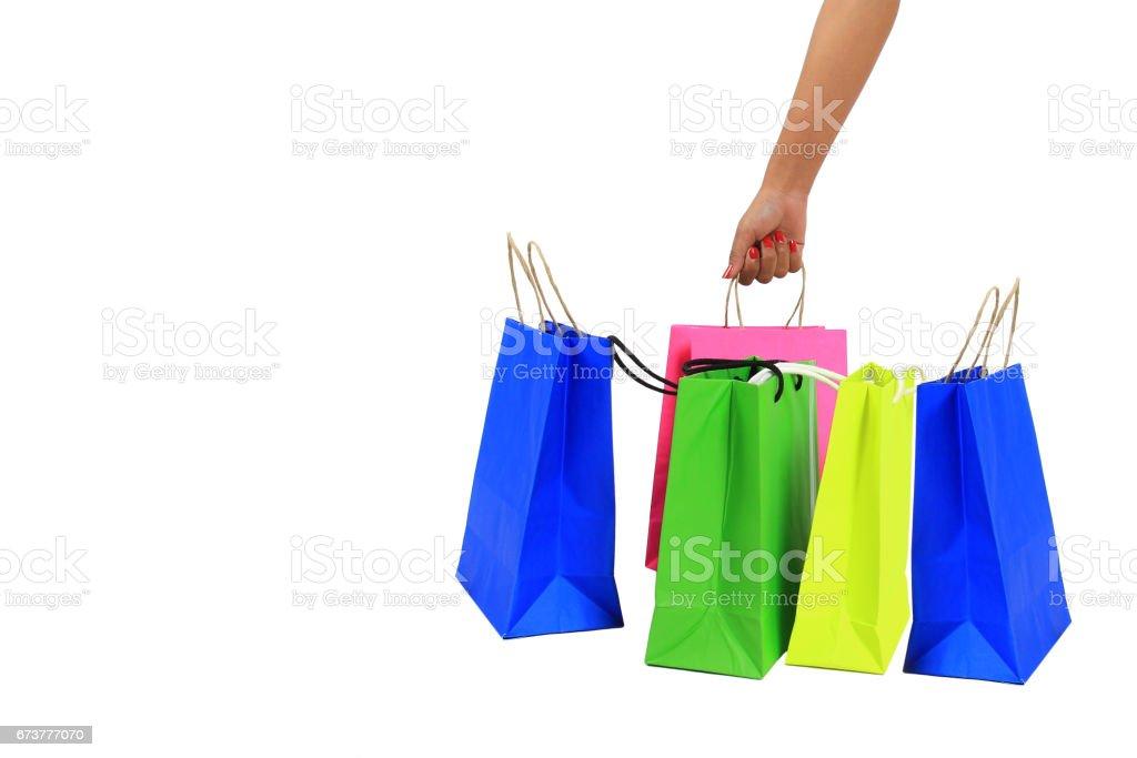 sacs à provisions sur fond blanc photo libre de droits