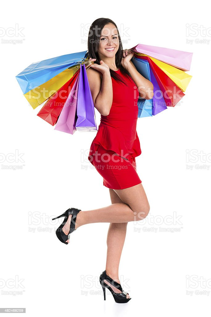 Shopping bags wings royalty-free stock photo