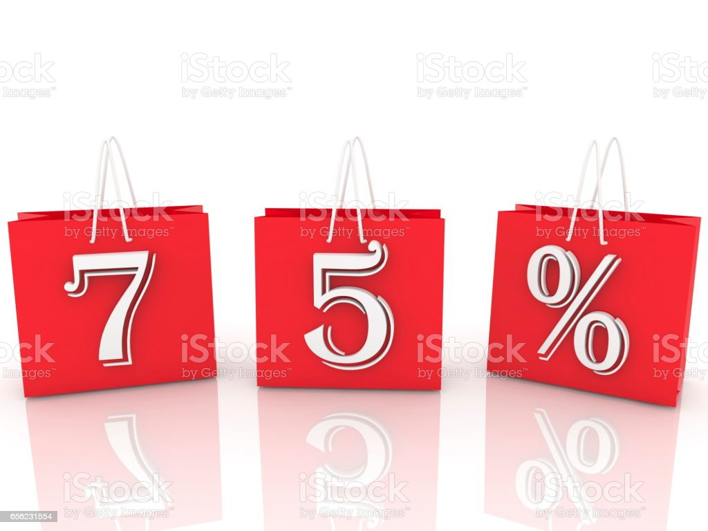 Shopping bags with inscription 75 percents stock photo