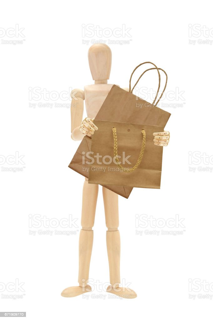 Shopping Bags Wood Mannequin stock photo