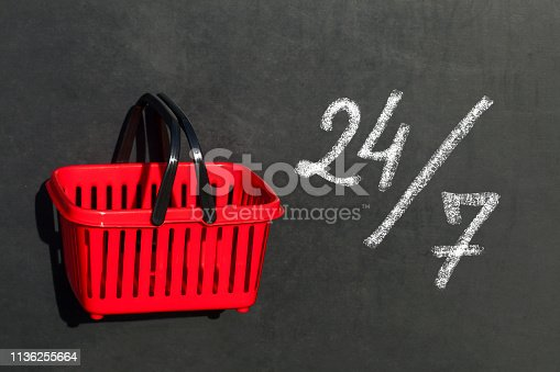 Red shopping basket and 24/7 sign ,on blackboard