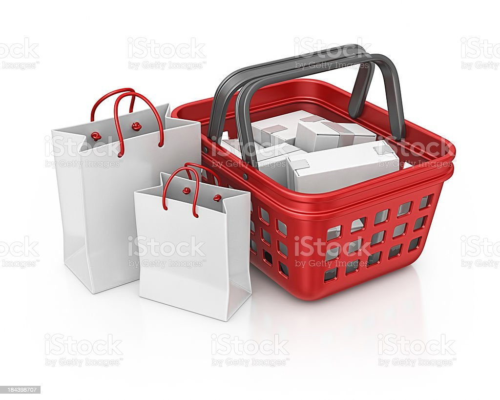 shopping basket and bags royalty-free stock photo
