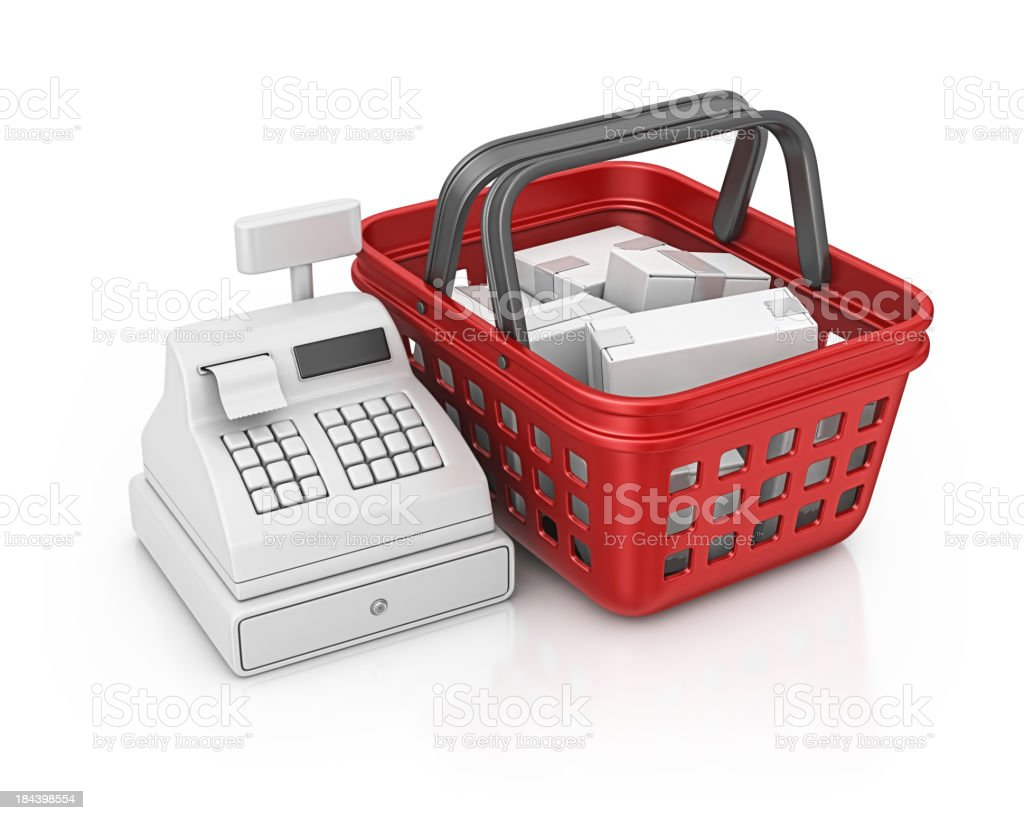 shopping basket and cash register royalty-free stock photo