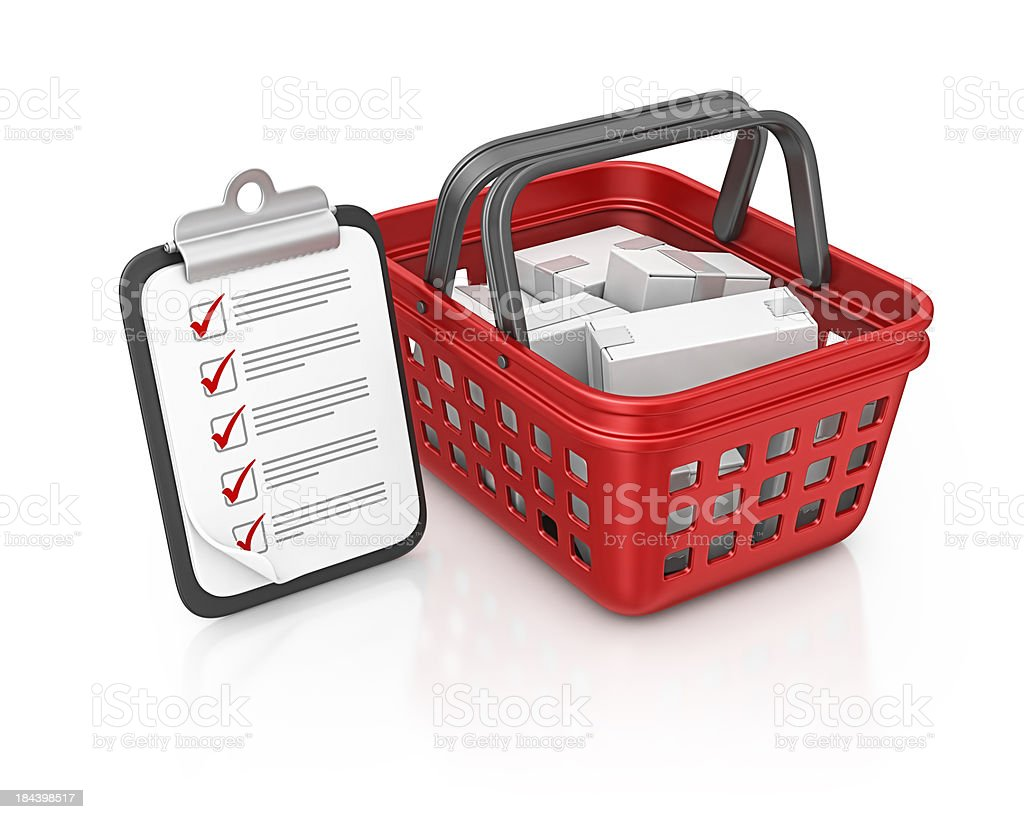 shopping basket and clipboard royalty-free stock photo
