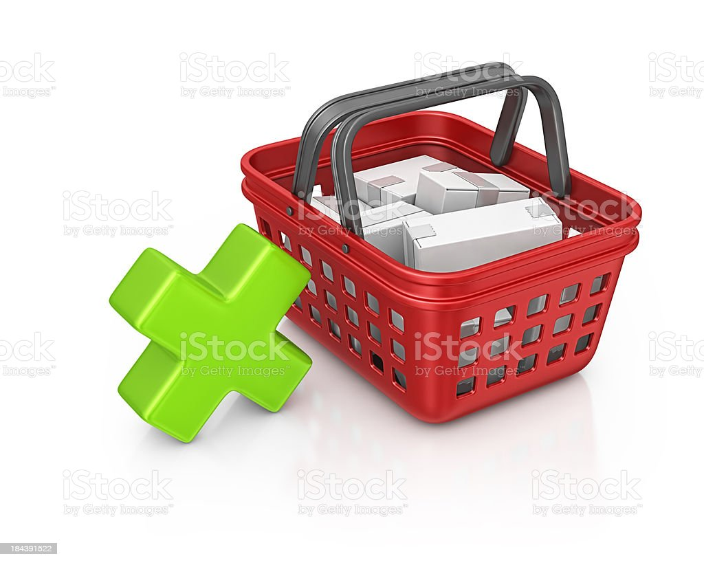 shopping basket and delete sign royalty-free stock photo