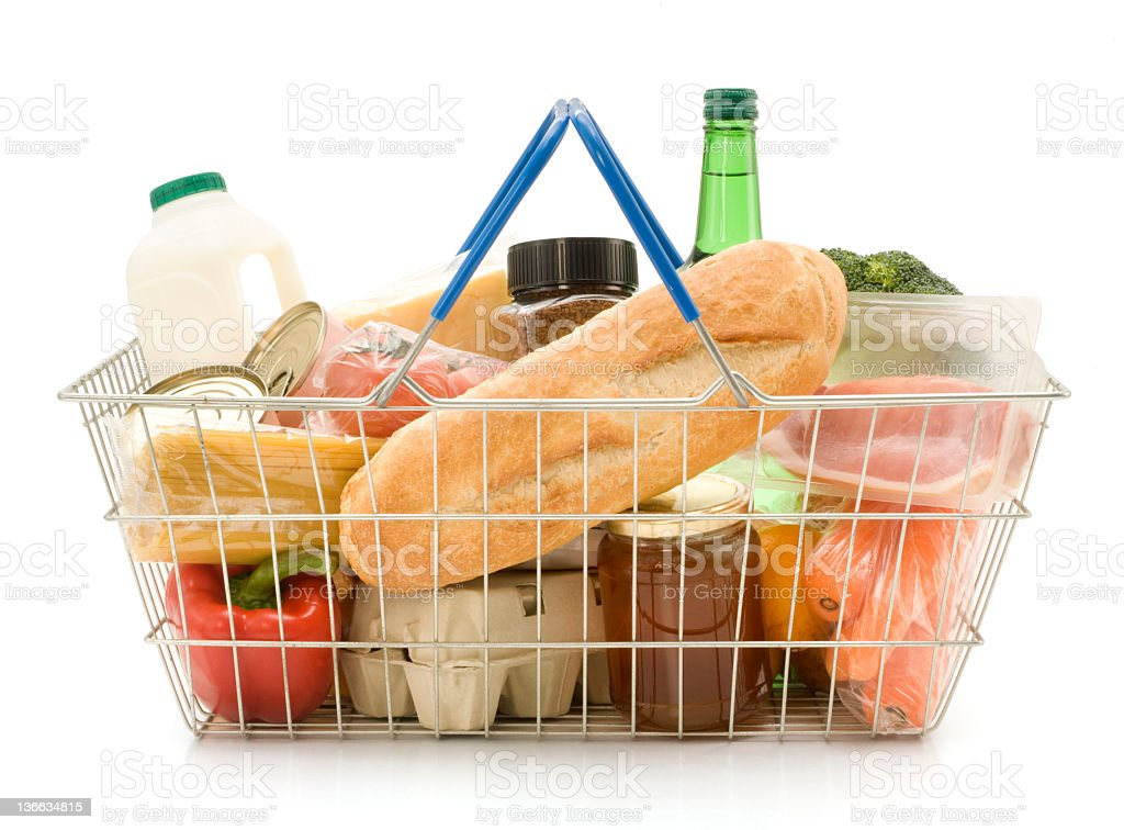 A shopping basket filled with food stock photo