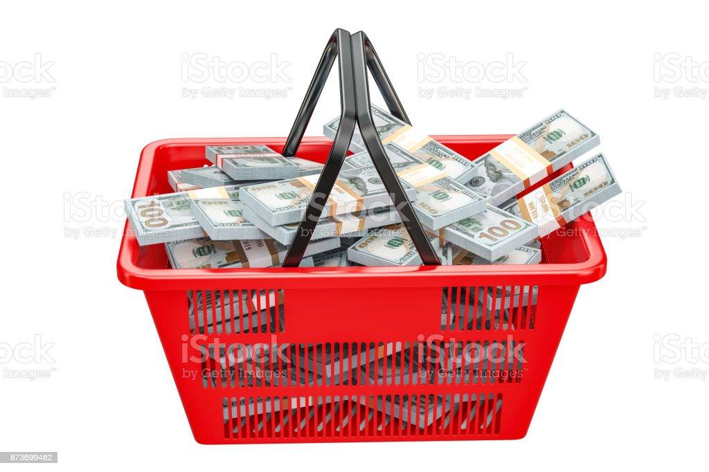 Shopping basket full of dollar packs, 3D rendering isolated on white background stock photo