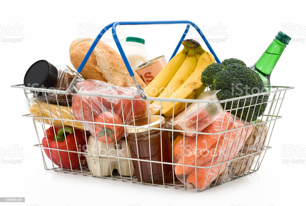 Shopping Basket of Food stock photo