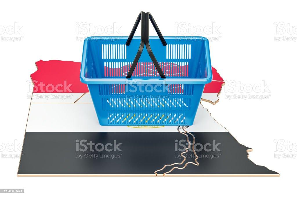 Cesta en concepto egipcio del mapa, cesta de la compra o poder adquisitivo. Render 3D - foto de stock