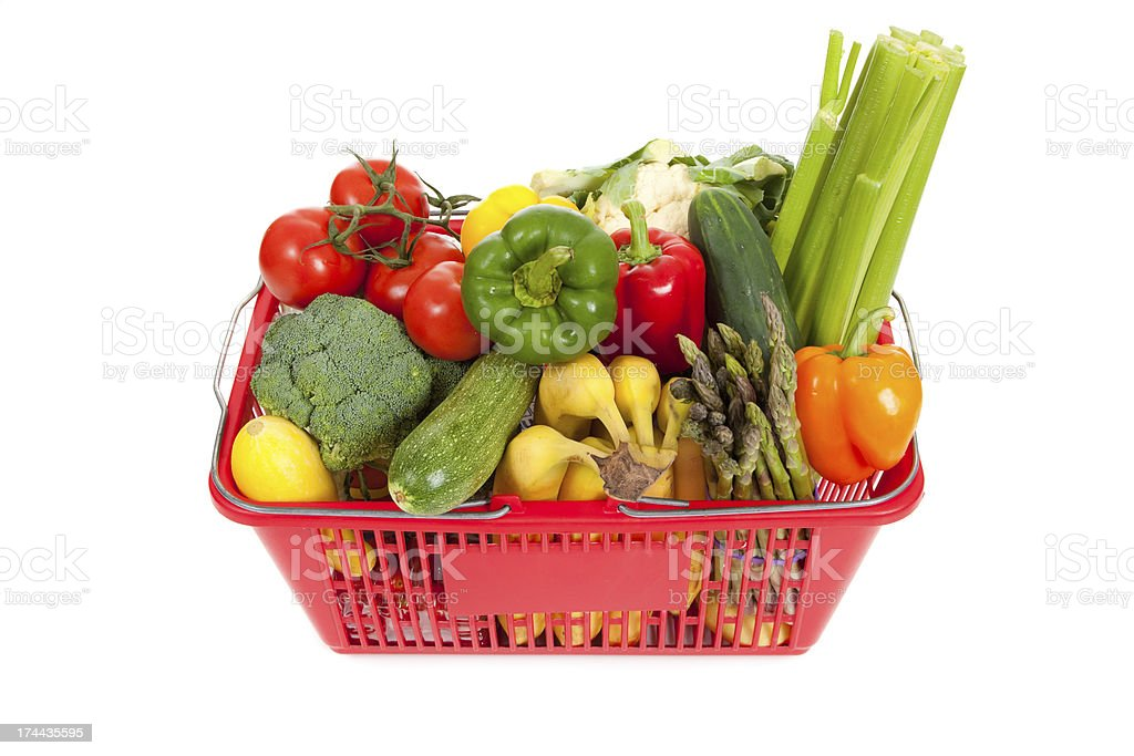 Shopping Basket oveflowing with fresh Vegetables royalty-free stock photo