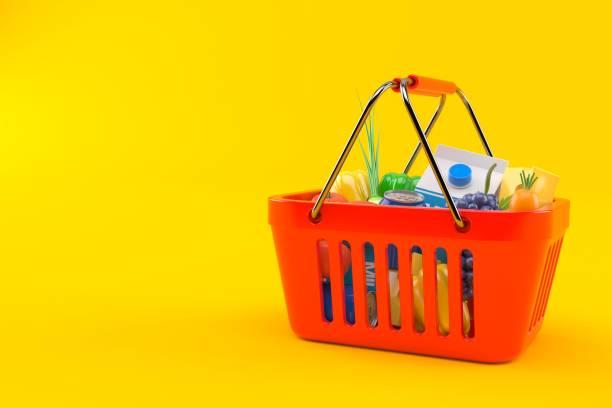 Shopping basket Shopping basket isolated on orange background. 3d illustration shopping basket stock pictures, royalty-free photos & images