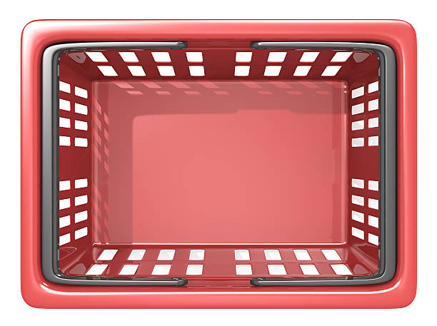 Shopping Basket. Top view of an empty Red Shopping Basket. Isolated. shopping basket stock pictures, royalty-free photos & images