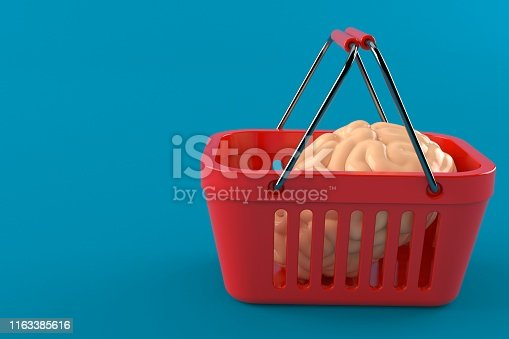 Shopping basket with brain isolated on blue background. 3d illustration
