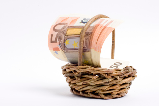 Shopping Basket With Cash Euro Money Stock Photo - Download Image Now