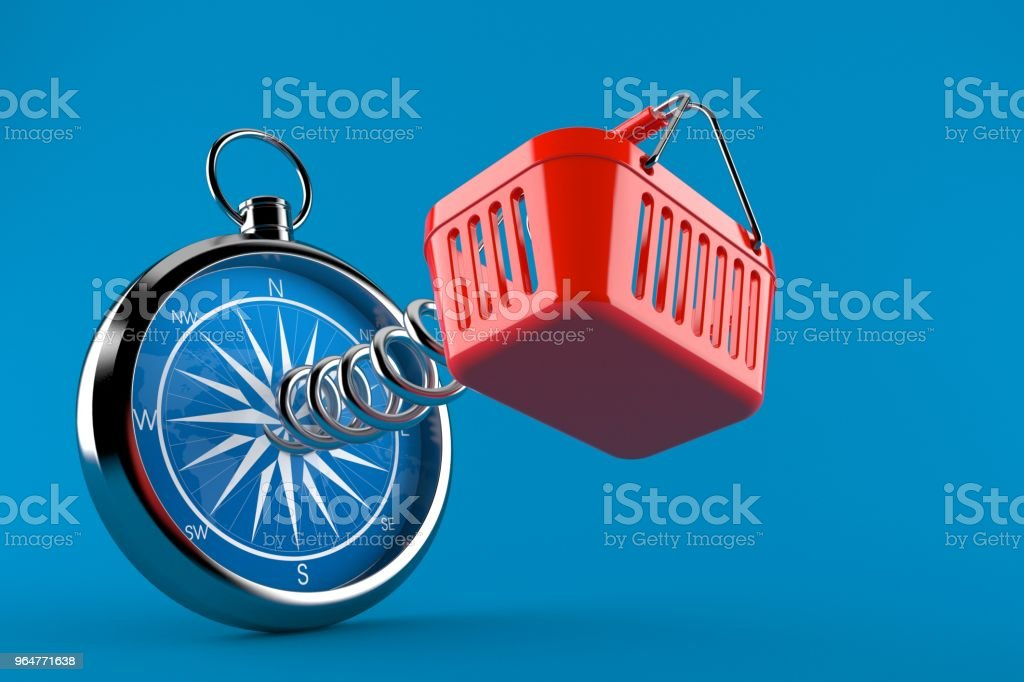 Shopping basket with compass royalty-free stock photo
