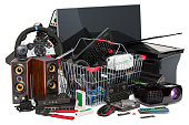 istock Shopping basket with computer device and accessories, 3D rendering isolated on white background 1054812174