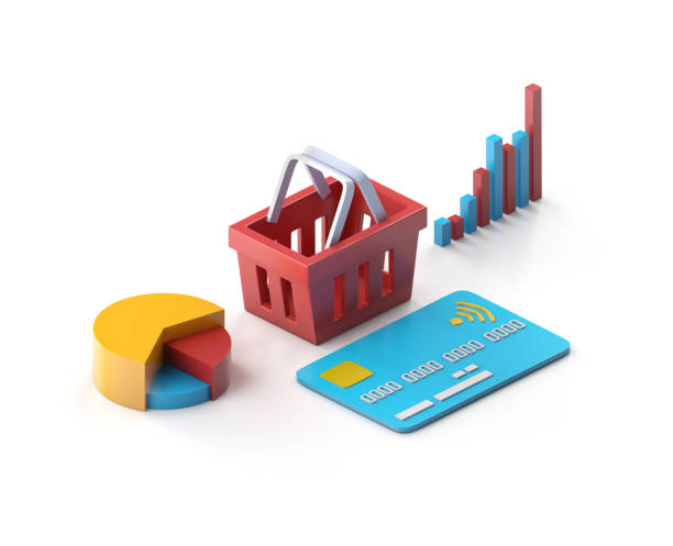 shopping basket with credit card and graphs - advertising isometric stock pictures, royalty-free photos & images