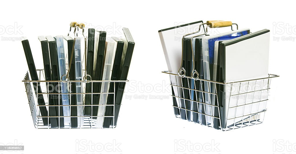 shopping basket with DVDs royalty-free stock photo
