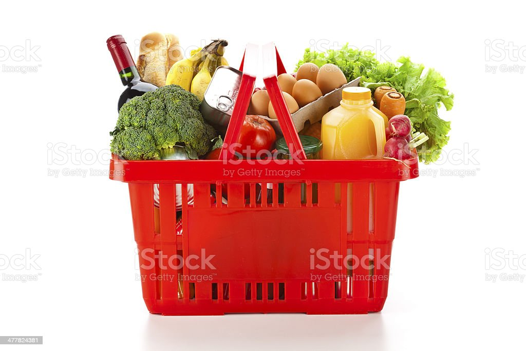 Shopping Basket with Food stock photo
