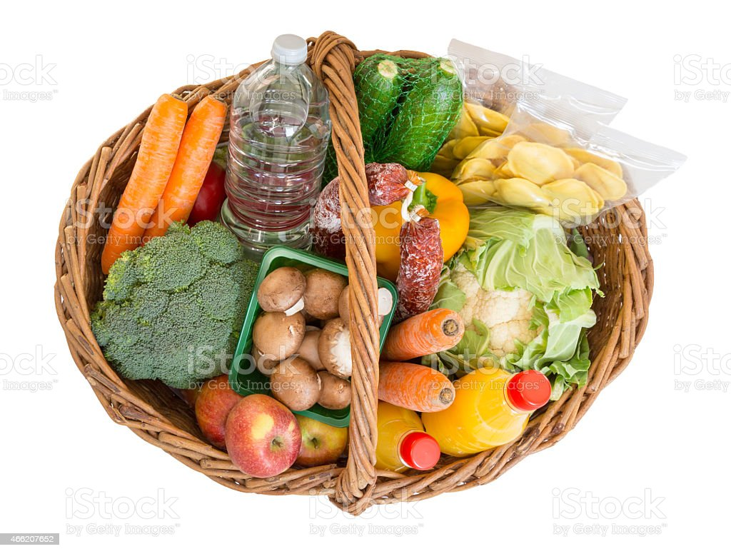 Shopping basket with foods fruits and vegetables stock photo