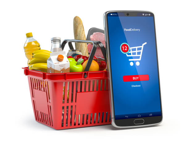 Shopping basket with fresh food isolated on white. Grocery supermarket, food and eats online buying and delivery concept. stock photo