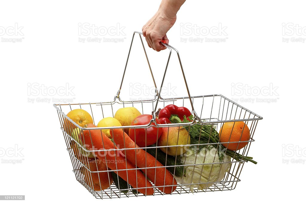 Shopping basket with fruits and vegetables royalty-free stock photo