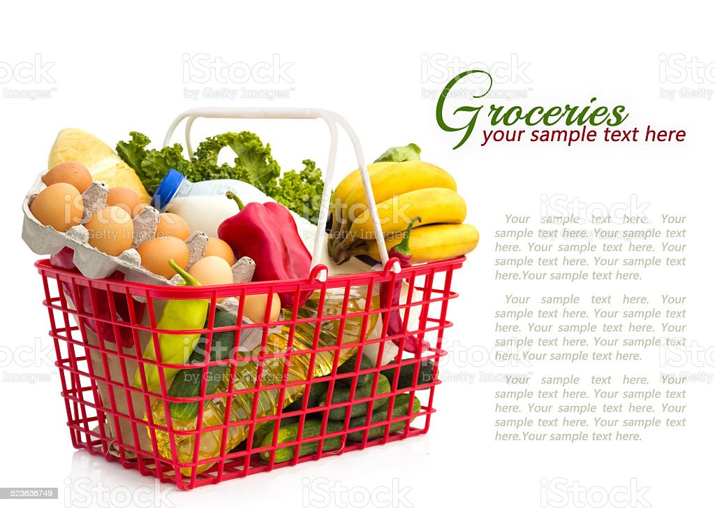 Shopping basket with groceries stock photo