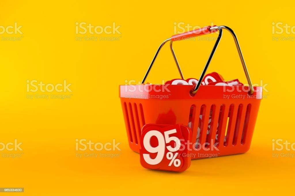 Panier d'achat avec le symbole de pourcentage - Photo de Acheter libre de droits